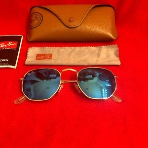 Ray-Ban Hexagonal Blue Unisex Sunglasses